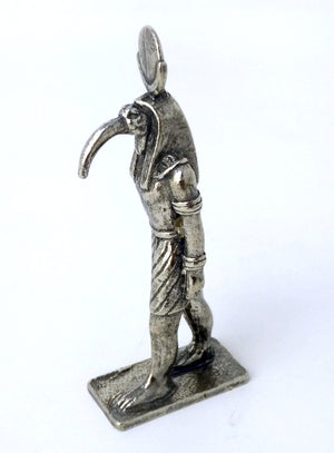Small Cast Pewter Thoth Statue - Ancient Egyptian God Thoth Figurine in Solid Pewter