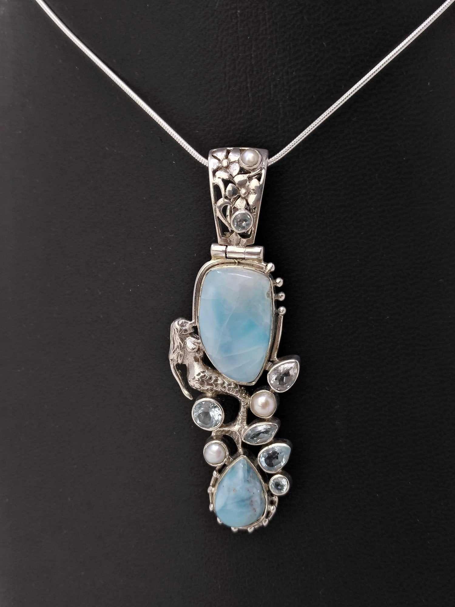 Larimar, Blue Topaz & Freshwater Pearl Pendant in Sterling Silver - Unique Multi-Stone Silver Pendant - One of a Kind Jewelry