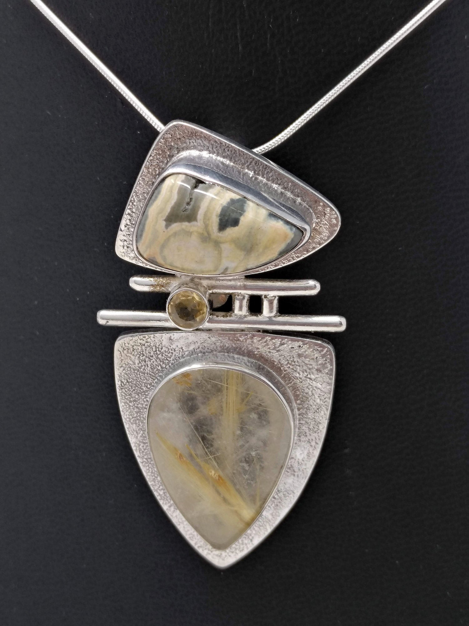 Rutilated Quartz, Jasper & Citrine Pendant in Sterling Silver - Unique Multi-Stone Silver Pendant