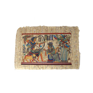Egyptian Papyrus of King Tutankamun Hunting with Bow accompanied by Queen Ankhesenamun - Hieroglyphic Back - 20x30cm