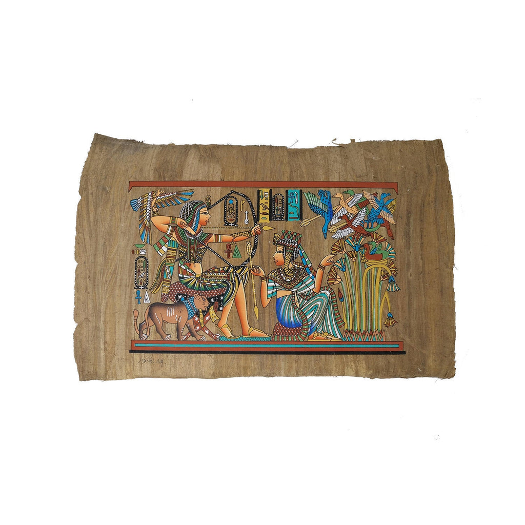Egyptian Papyrus of King Tutankamun Hunting with Bow accompanied by Queen Ankhesenamun - Antiqued Papyrus - 20x30cm