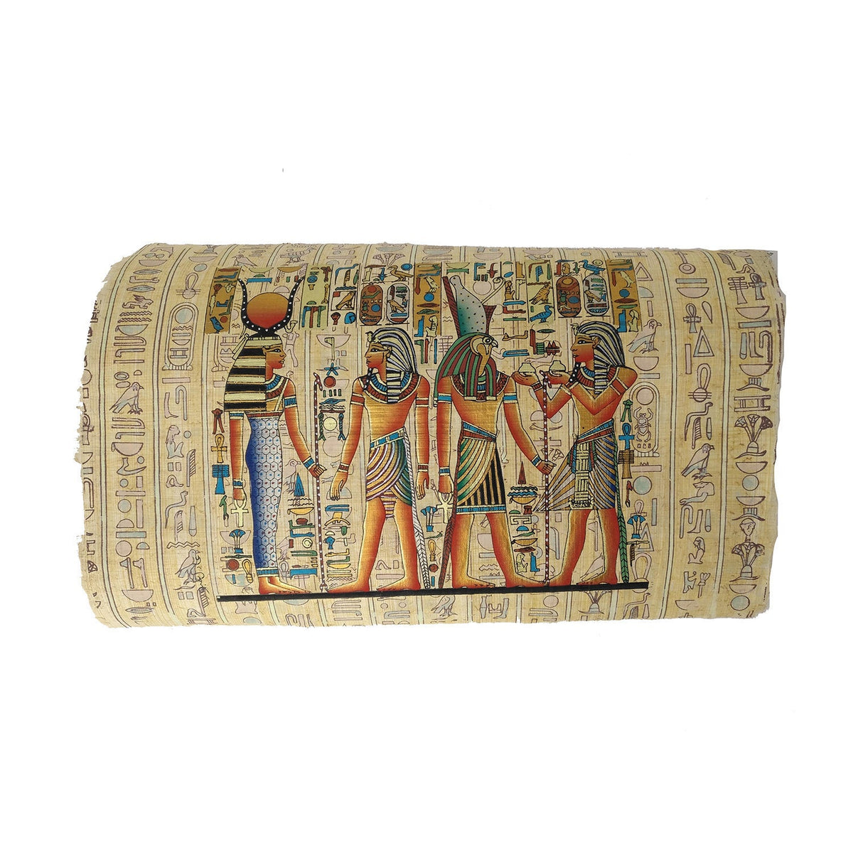 Ramses II making Offerings to Isis & Horus - Hieroglyphic Back - 20x30cm