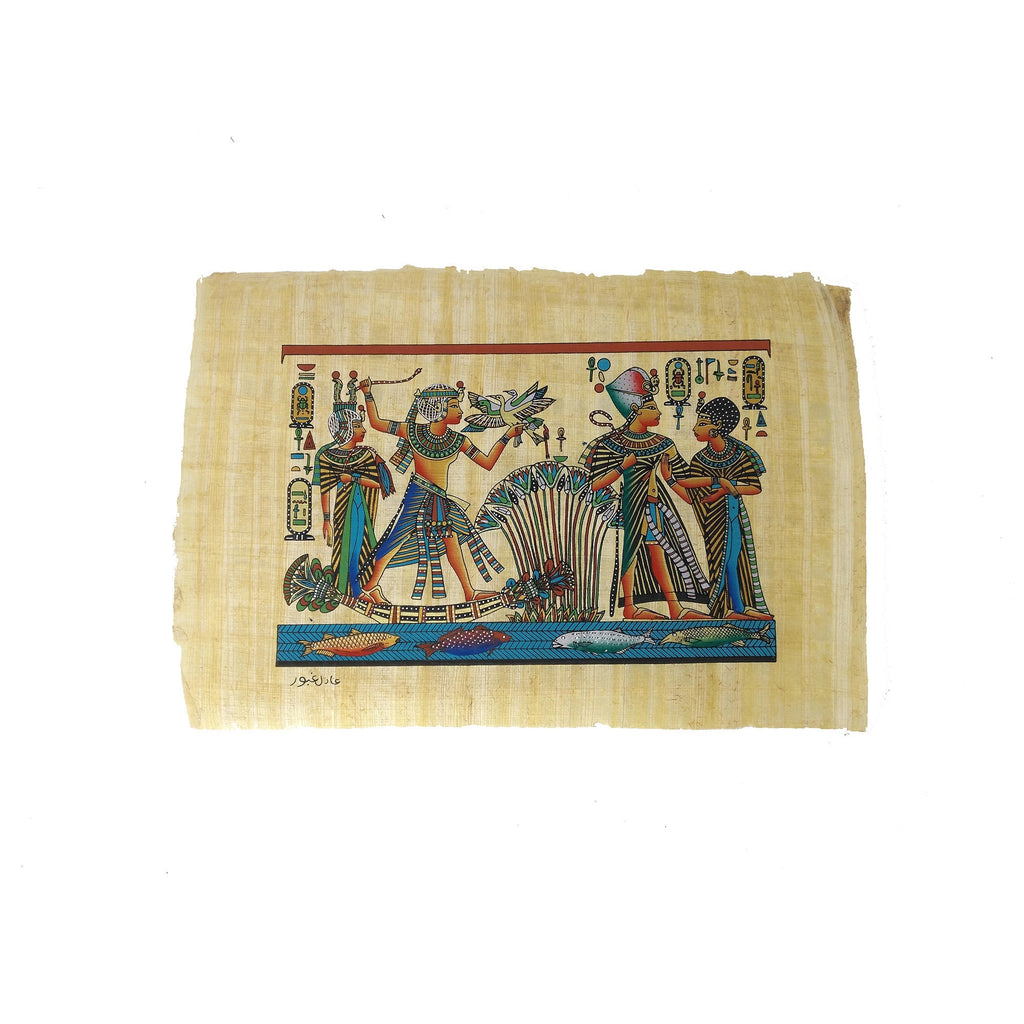 Egyptian Papyrus of King Tutankamun accompanied by Queen Ankhesenamun on Nile Boat - Pastel Colours - 20x30cm