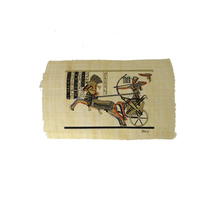 Ramses II on Chariot with Goddess Nekhbet Black and Gold Papyrus - 20x30cm