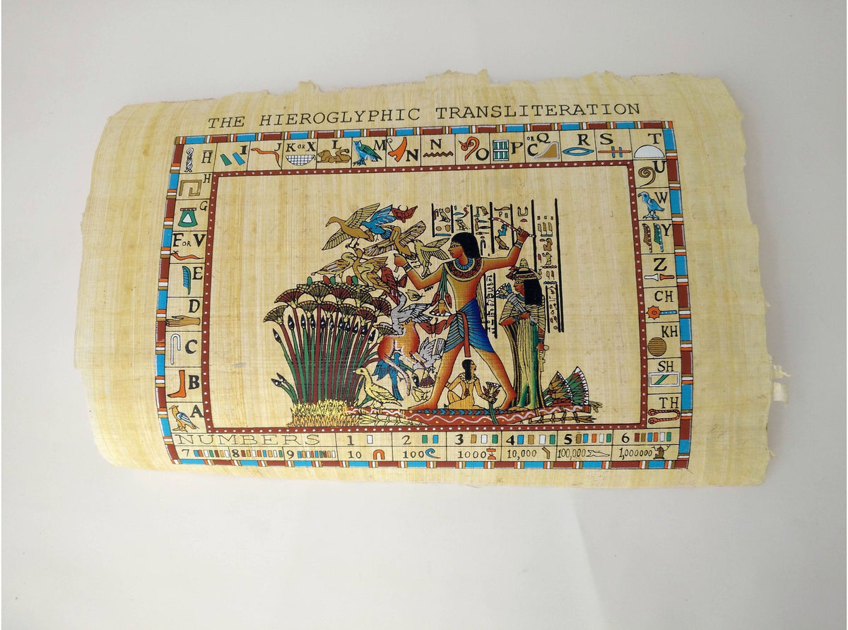 Fowling on the Nile - Hand Painted in Egypt on Antiqued Papyrus - Hieroglyphic Border - 20x30cm