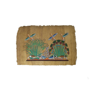 Egyptian Geese Flying out of Lotus Flowers and Papyrus on the Nile - Hand Painted in Egypt on Antiqued Papyrus - Antiqued Papyrus - 20x30cm