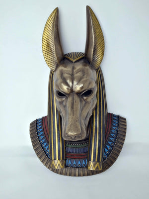 Life Size Anubis Wall Mask - Bold Ancient Egyptian God Anubis Wall Mask with Hand-painted detail