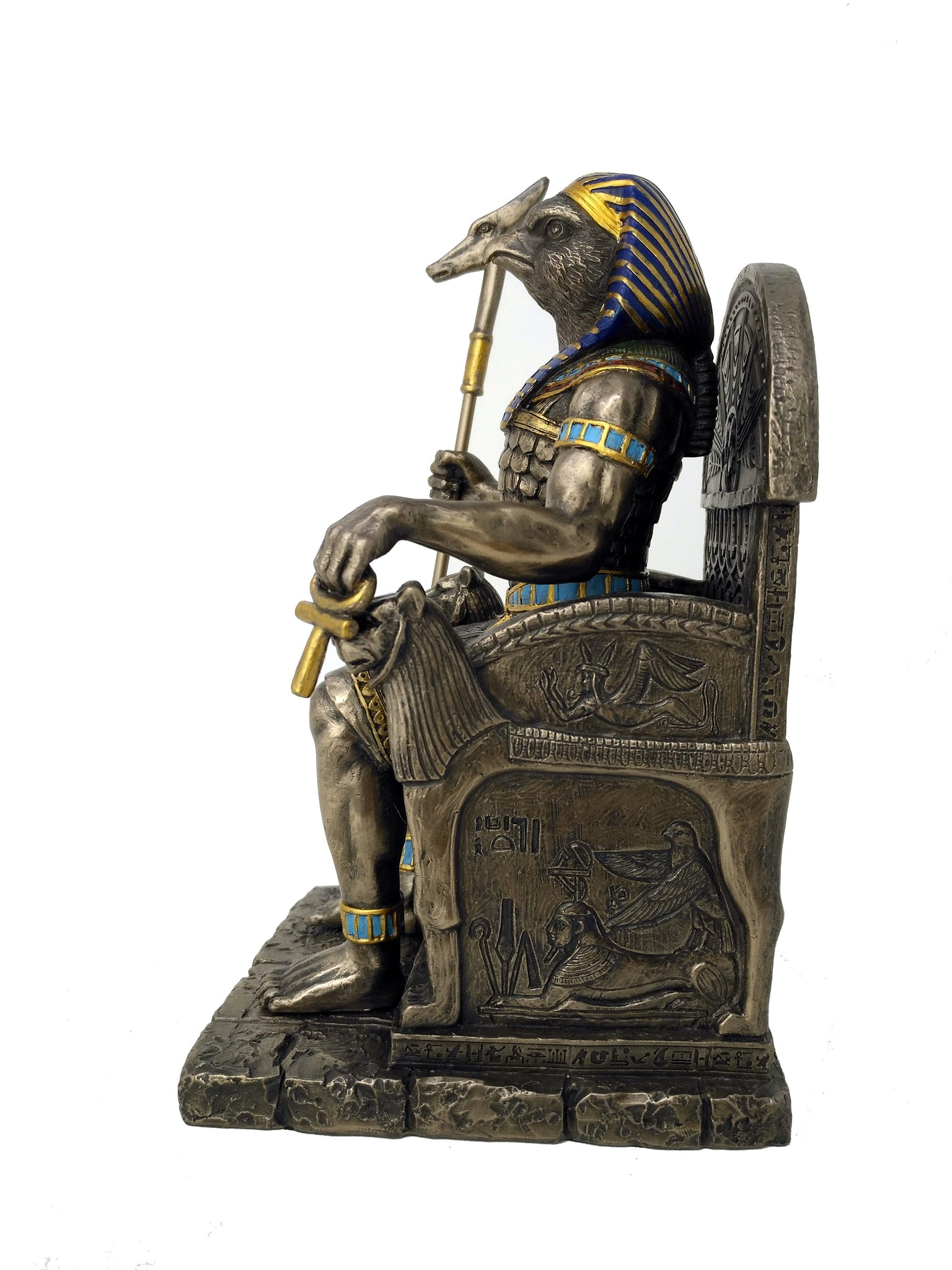 Large Egyptian God Horus Statue - Ancient Egyptian Sky God Horus With Staff in Throne Statue - Cold Cast Bronze - 8.5'' / 21.5cm