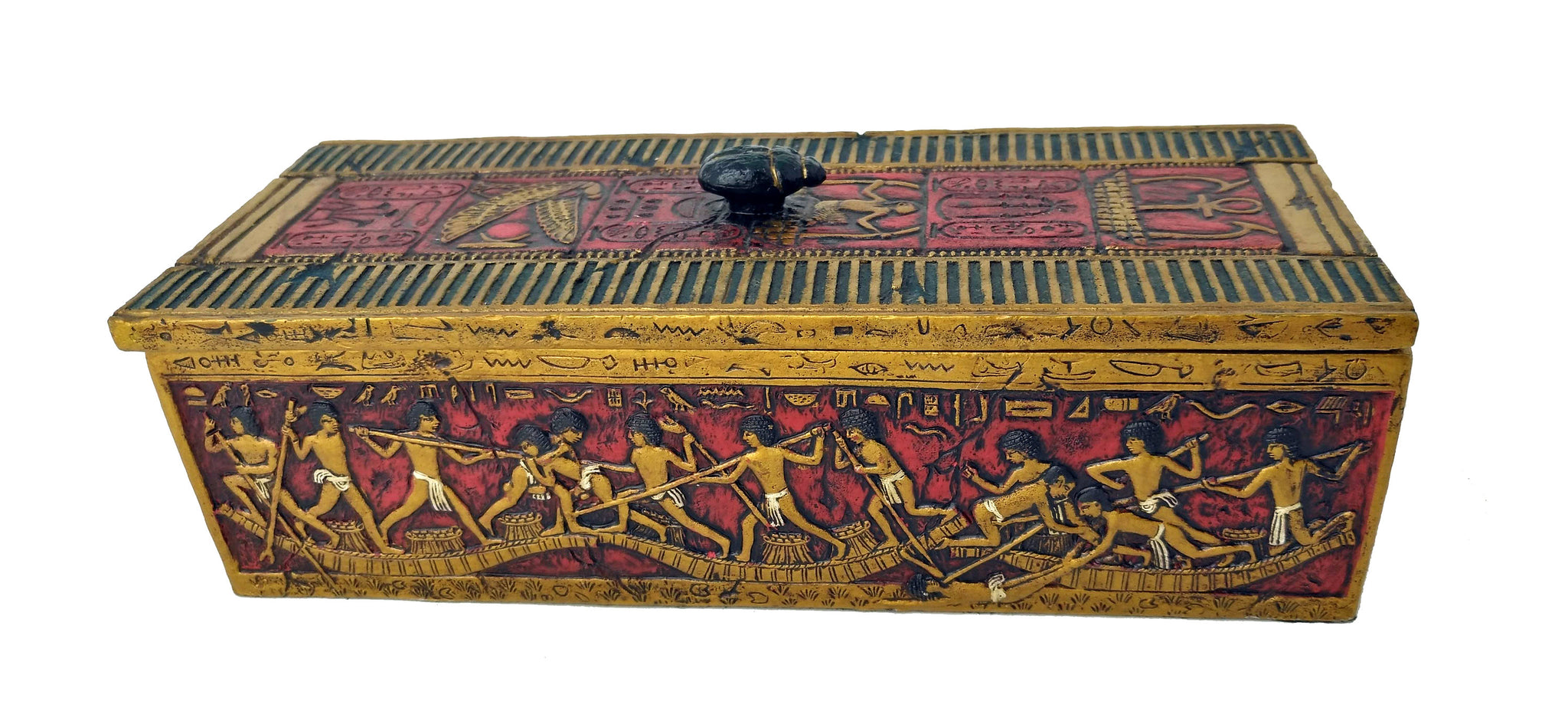 Scarab Trinket Box - Egyptian Scarab Beetle - Ancient Egyptian Positive Talisman Scarab Beetle with Scene of the Nile River - 8'' / 20.5cm