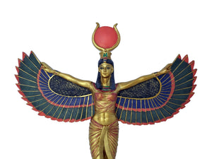 Egyptian Goddess Isis Wall Hanging - Hand-Painted Ancient Egyptian Goddess Isis With Wings Outstretched Wall Plaque - 12 inches / 30cm