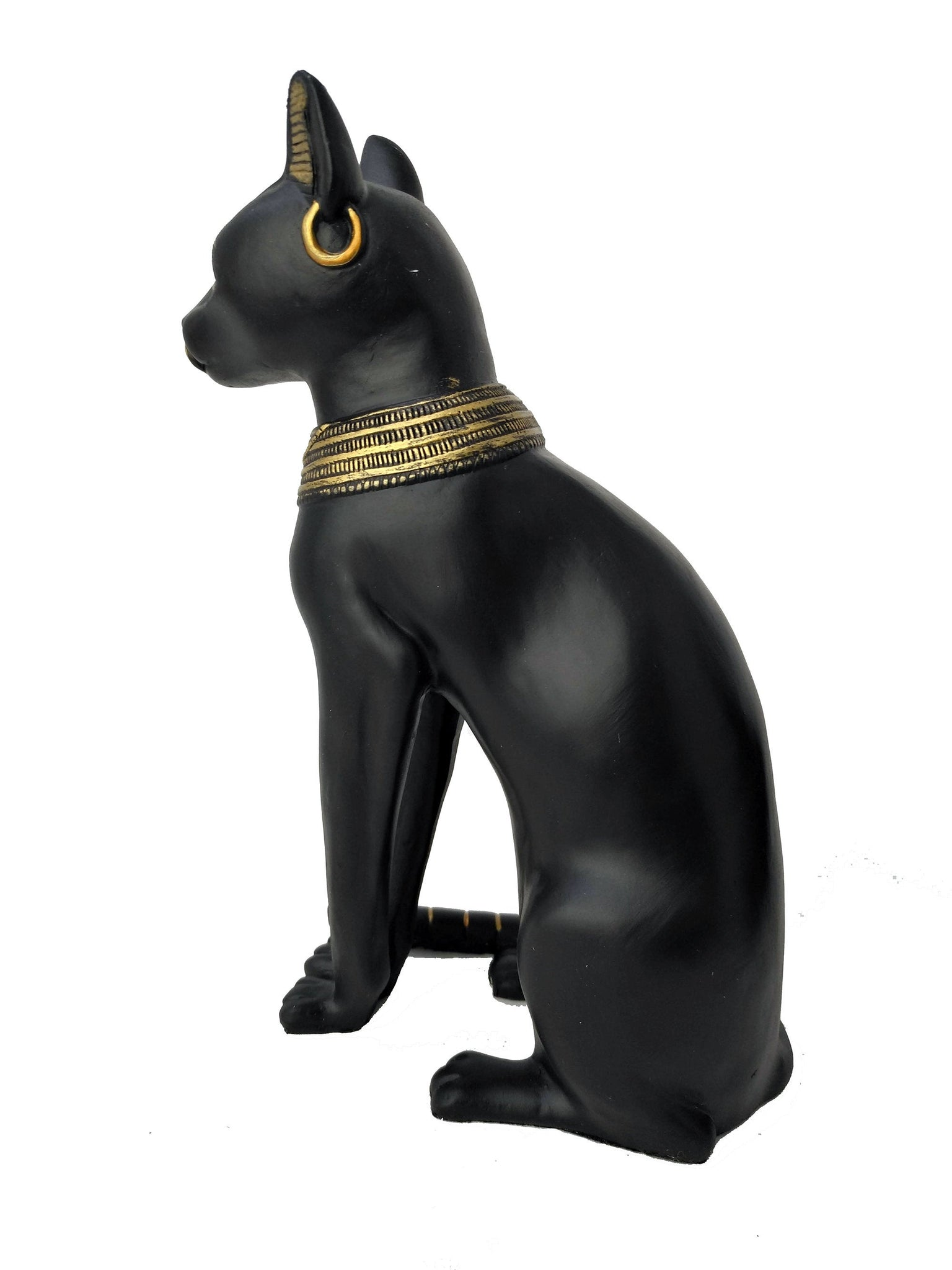 Bastet Statue with Gold Detail - Large