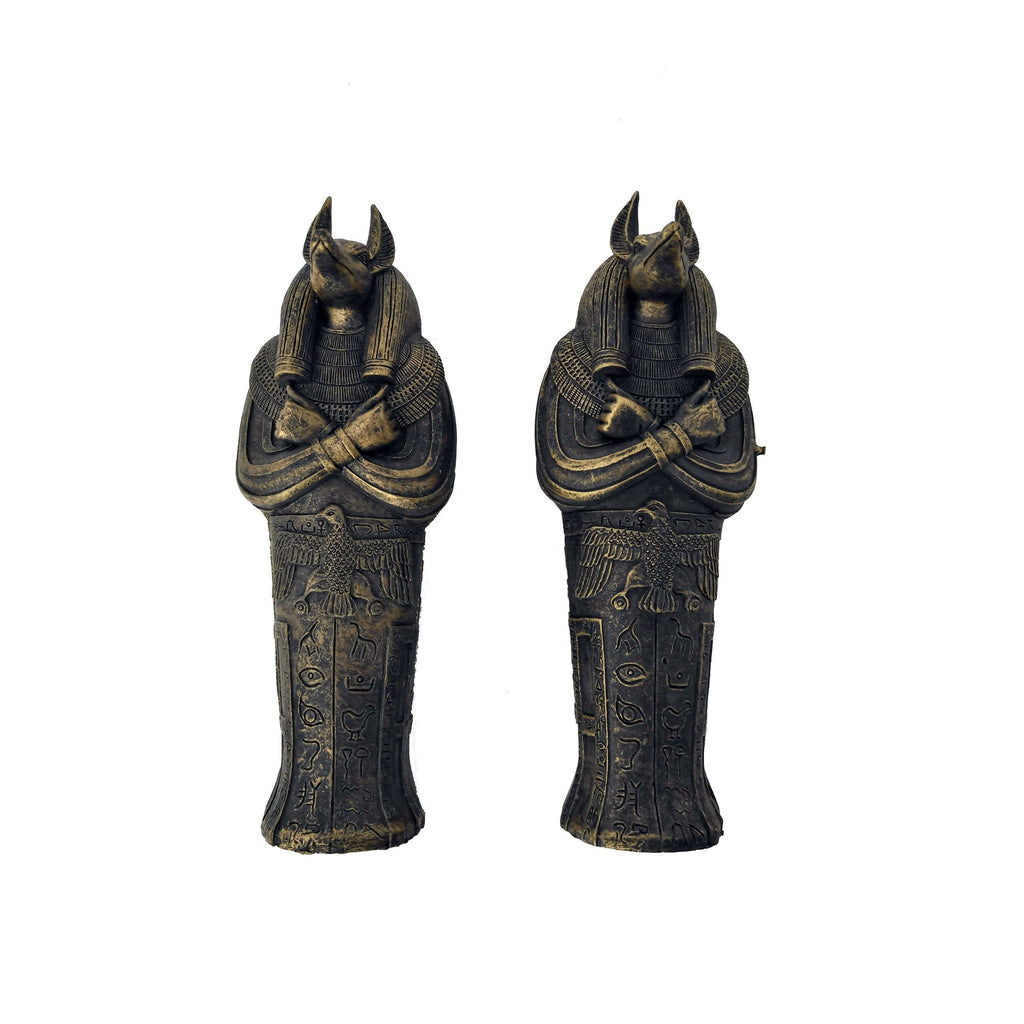 Anubis Sarcophagus With Mummy Box Cast Resin Replica - 3 Pieces