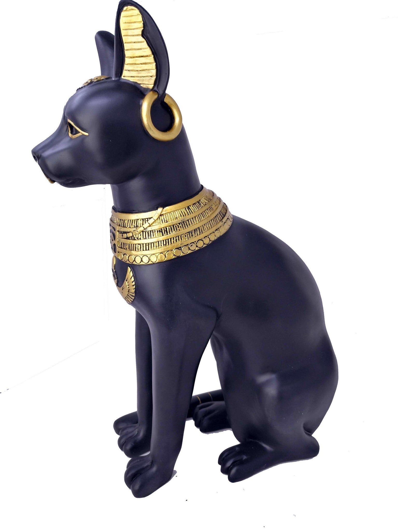 Large Hand-Painted Bastet Statue - Ancient Egyptian Goddess Bastet With Earrings & Wadjet Amulet - 50cm / 20 inches tall