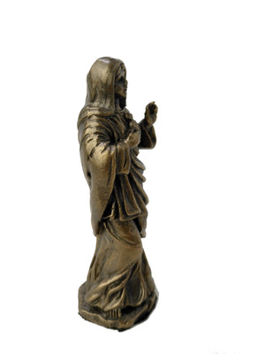 Small Divine Mercy Of Mary Statue - Virgin Mary Cold Cast Bronze Statue - Christian Statue Home Decor - 4'' / 10cm