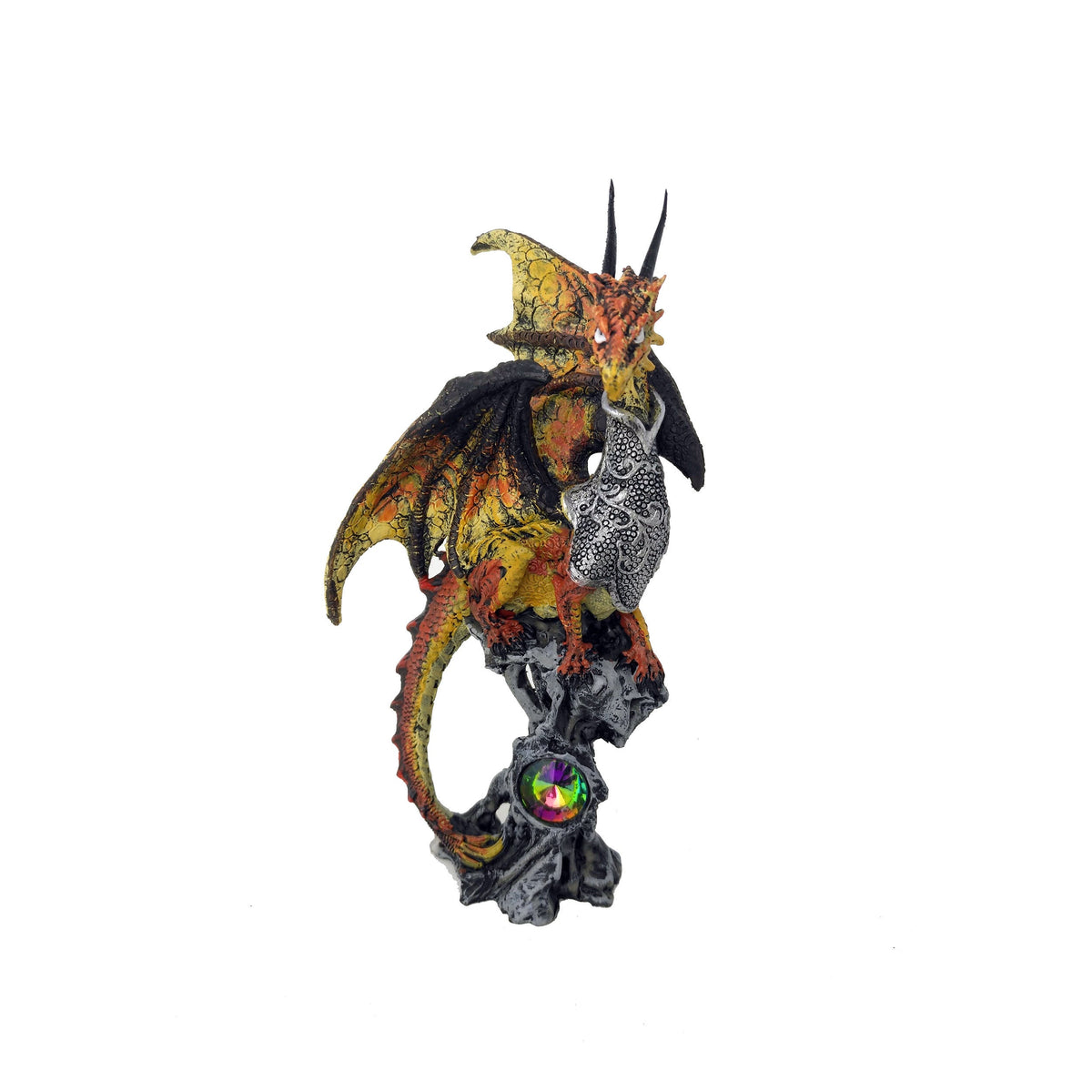 Gold Dragon Protecting Jewel On Perch Statue