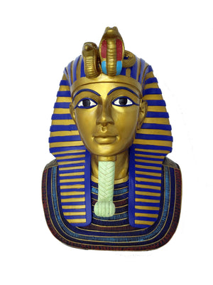 Medium King Tutankamun Replica Mask - Museum Replica of Ancient Egyptian King Tutankamun Golden Death Mask  - Over 13.5 inches / 34 cm tall!