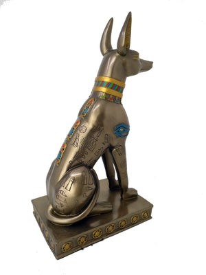 Medium Bronze Style Anubis Statue - Ancient Egyptian God Anubis with hand-painted detail on Bronze finish  - Egyptian Home Decor