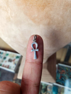 Small Sterling Silver Ankh Pendant - Made in Egypt - Vintage Ancient Egyptian Sacred Key of Life - 925 Sterling Silver Pendant