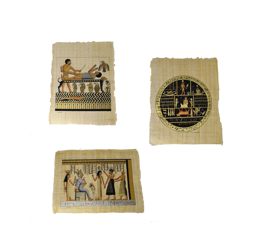 Hand-Painted Facsimiles From The Book of Abraham on Egyptian Papyrus  - LDS Papyrus in Pearl of Great Price - Full set of 3 Facsimiles!