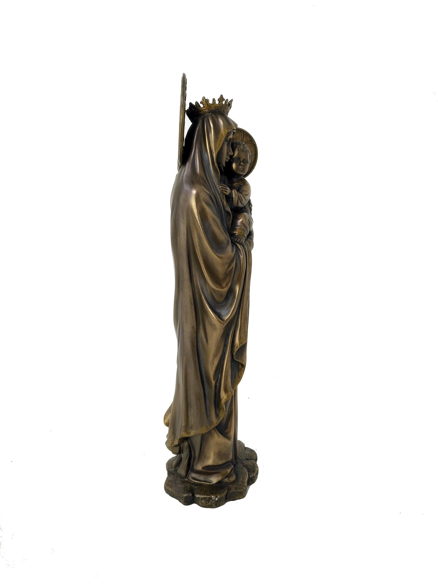 Our Lady of Mount Carmel Statue - Virgin Mary patroness of the Carmelite Order Cold Cast Bronze Statue - Christian Home Decor - 10.25''/26cm