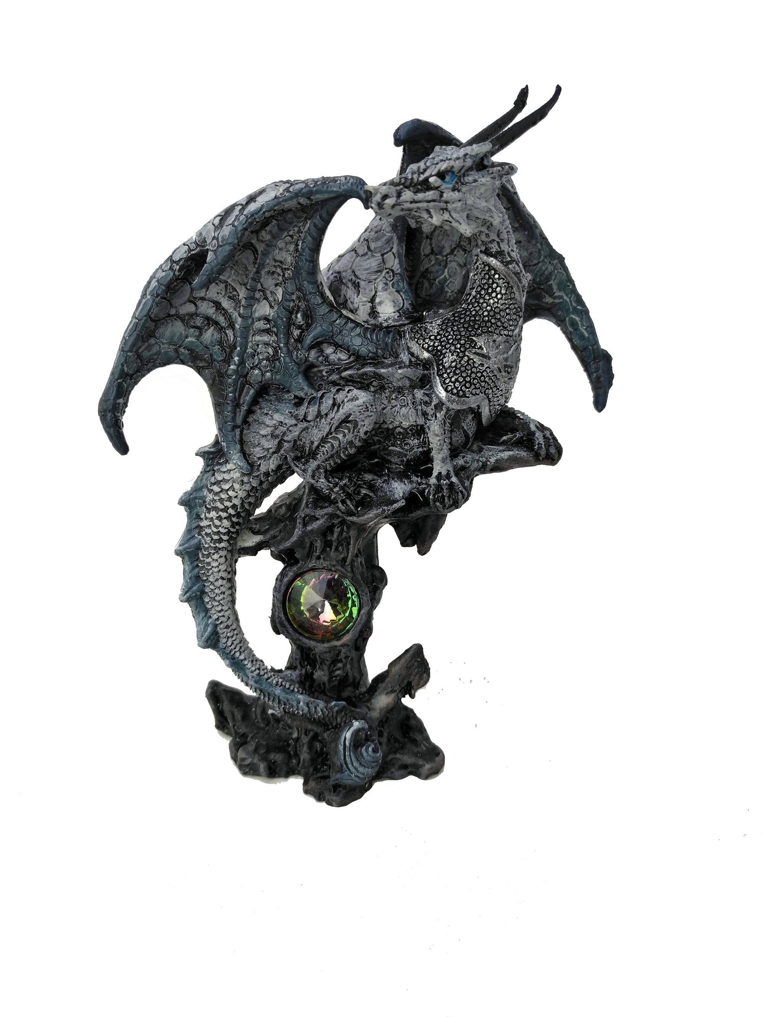 Black Dragon Protecting Jewel On Perch Statue