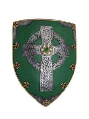 Large Celtic Cross Wall Shield - Hand-Painted Green & Silver Celtic Design Wall Hanging - 17.3'' / 44cm Tall!