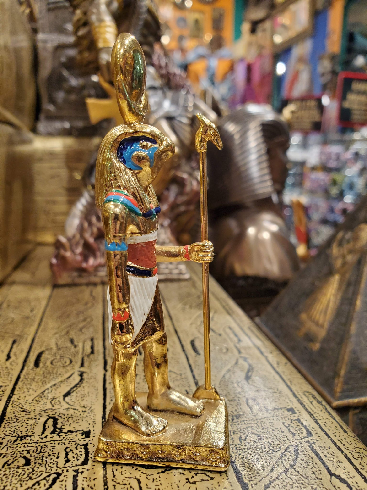 Small Gold Horus Figurine - Egyptian Sky God Horus - Beautiful Hand-Painted Figurine - Altar Statue - 3.5 inches / 9cm Tall!