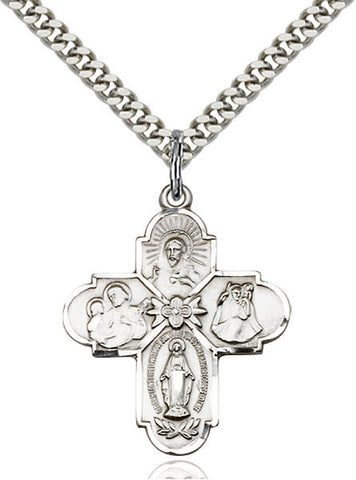 "Sterling Silver 4 Way Medal on 24"" Stainless Chain"