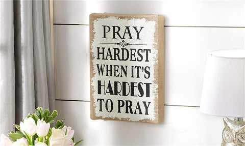 Burlap Wall Sign Pray