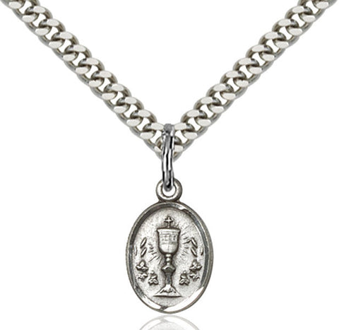 "Sterling Silver Chalice Medal on 18"" Chain"