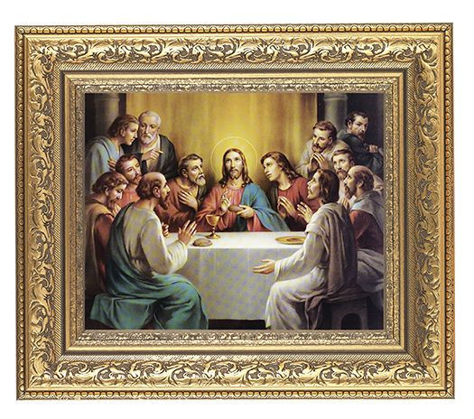 LAST SUPPER IN AN BEAUTIFULLY DETAILED ORNATE GOLD LEAF ANTIQUE FRAME