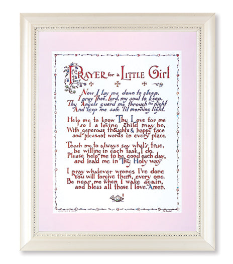 PRAYER FOR A LITTLE GIRL OR LITTLE BOY PRINT IN A PEARLIZED WHITE FRAME