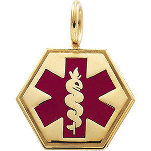 Gold Medical ID Pendant with Red Enamel 285