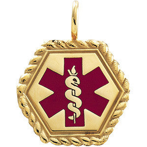 Gold Medical ID Pendant with Red Enamel