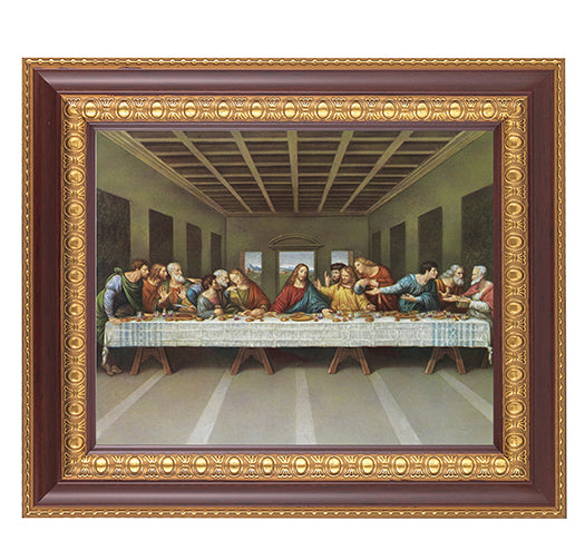 DAVINCI-THE LAST SUPPER IN A FINE DETAILED CHERRY & GOLD EDGE FRAME