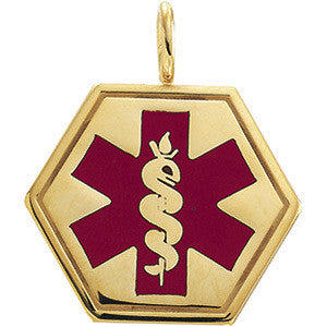 Large Gold Medical ID Pendant