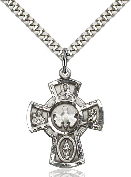 5-Way Sterling Silver Cross on 18