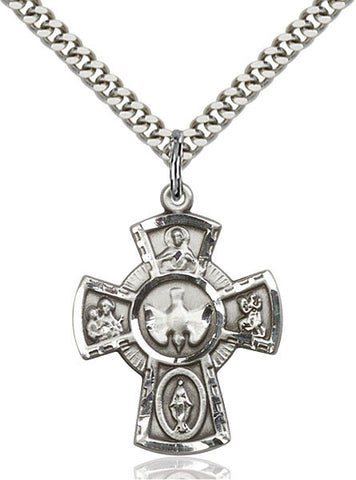 "5-Way Sterling Silver Cross on 18"" Chain"