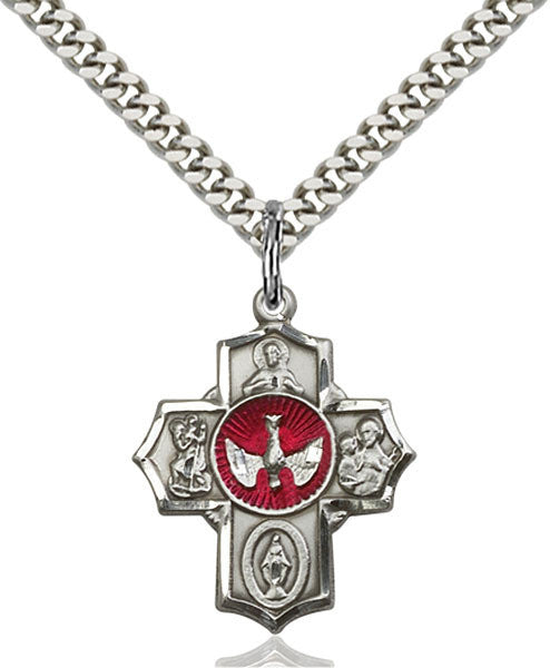 5 Way Medal with Red Enamel Dove in Center in Sterling Silver