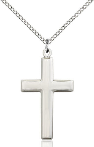 "Sterling Silver Plain Medium Cross with 18"" Stainless Chain"
