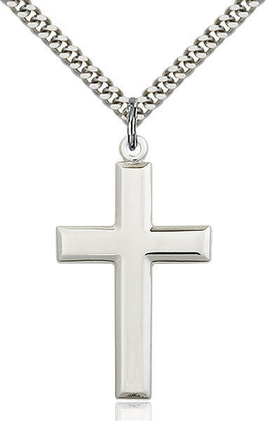 Sterling Silver Plain Cross with 24