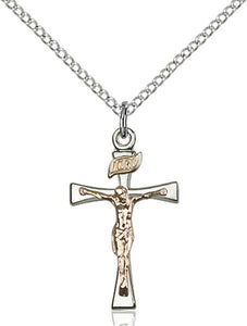 "Gold Filled & Sterling 2 Tone Crucifix with 18"" Chain"