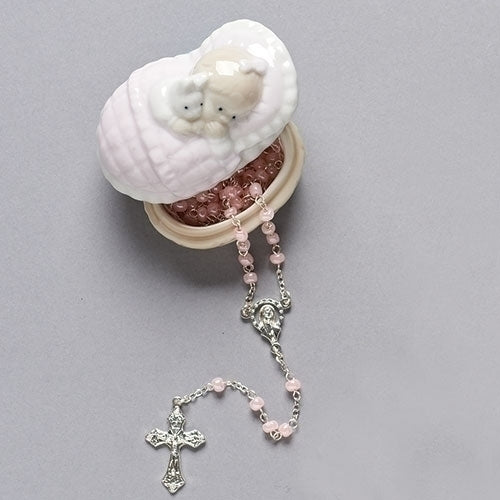 Baby Girl or Baby Boy Rosary in Porcelain Crib