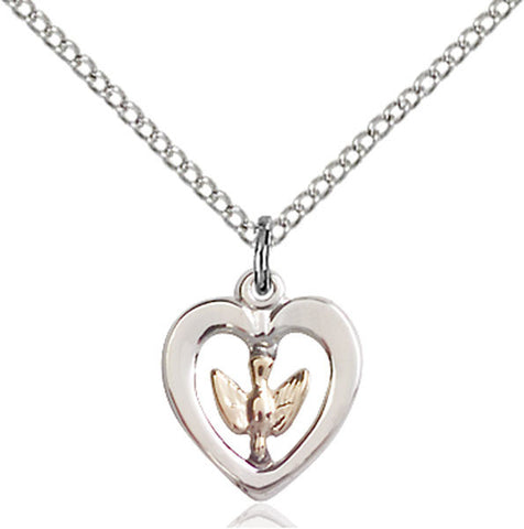 Sterling Silver and Gold Filled Dove in Heart