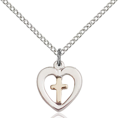 Gold Filled Cross in Sterling Silver Heart