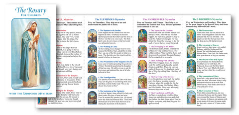 graphic regarding Luminous Mysteries of the Rosary Printable identified as Childrens Rosary Pamphlet