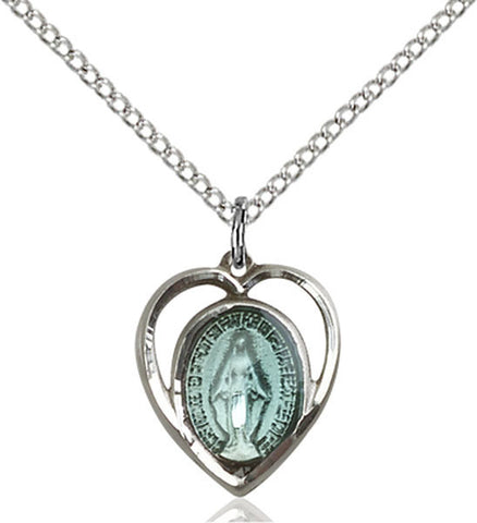 Heart Shaped Sterling Blue Enamel Miraculous Medal on Chain