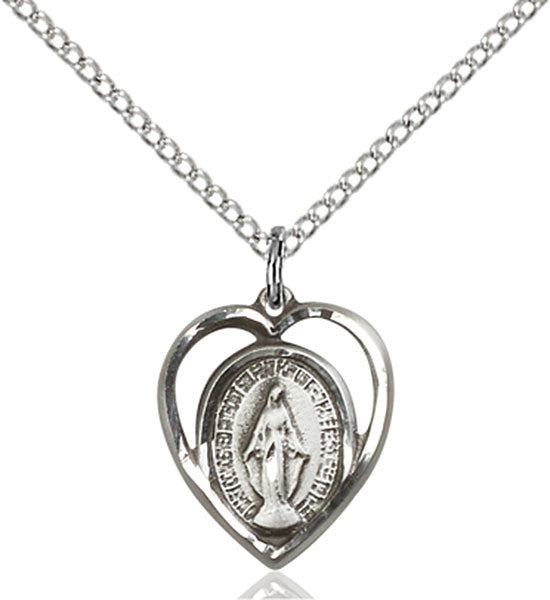 Sterling Silver Heart Shaped Miraculous Medal on Chain