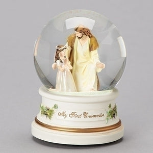 "5.5""H 100MM Musical Dome Girl w/Jesus"