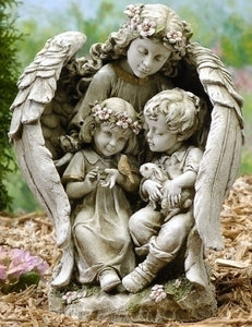 "Angel w/children 16""h garden statue"